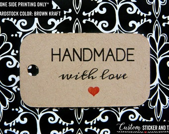 """handmade with love tags 1.8"""" x 1"""" mini size, set of 50, wedding favor tags, product tag, goody bag tag, kraft rustic tag, welcome bag (T-06)"""