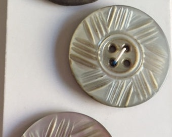 Vintage  Carved Shell Buttons - 3