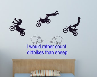 Dirtbike Decal Motocross Sticker Quote Wall Words Stunt Motorcycle Sheep Decal Boys Room Decal Child Room Vinyl Wall Decal 30 X 50 inches