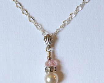 Personalized Silver Crystal Pearl Bridal Necklace