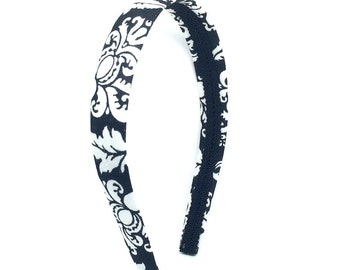 Damask Headband - Preppy - Black and White Damask Headband - Big Girl Headband, Teen Headband, Adult Headband