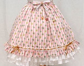 "Floral and Stripe ""Ice Cream Parlour"" Skirt - Lolita Fashion - with removable resin charms"