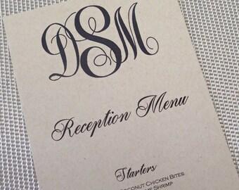 Custom Dinner (Set of50)/ Reception Menu/ModernWeding Menu/ Monogam Menu