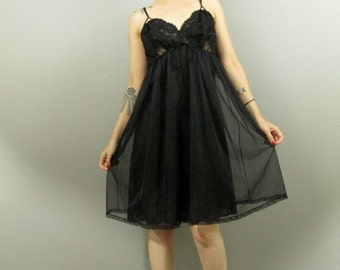 Vintage 50's Black Lace Sheer Empire Boudoir Slip Dress S
