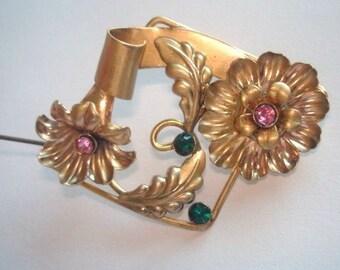 Rare GF Flower Brooch Rhinestone Vintage Jewelry Signed Palm