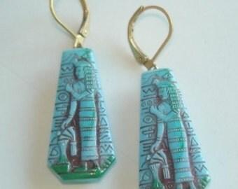 Neiger Egyptian Dangle Blue Earrings