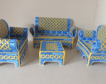 Blue and Yellow Plastic Canvas Doll House Furniture. Set of 4 Doll Living Room Furniture. Handcrafted Plastic Playhouse Furniture.