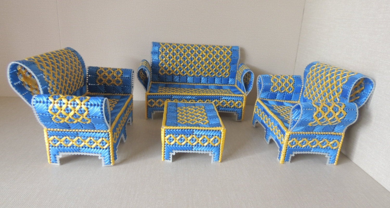 Blue And Yellow Plastic Canvas Doll House Furniture Set Of 4