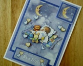 Handmade It's A Boy New Baby Greetings Card 3D Decoupage (#013)