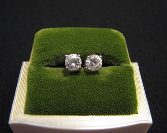 Vintage Sterling Silver Round Cubic Zirconia Diamond Solitaire Stud Post Pierced Earrings 5mm