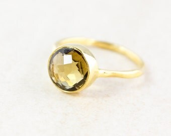SALE Gold Citrine Ring - November Birthstone Ring - Stacking Ring