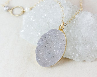 50% OFF SALE - Natural Genuine Druzy Necklace - Customizable - Freshwater Pearls