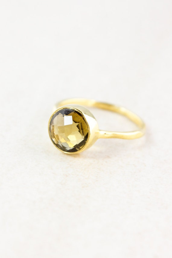 Gold Citrine Ring - November Birthstone Ring - Stacking Ring