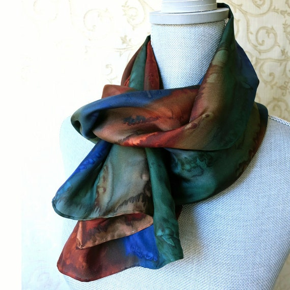 Silk Scarf Hand Painted in Brown, Forest Green and Midnight Blue