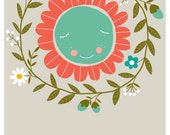 Fine art print illustration for nursery or kids room featuring a flower in a wreath - 8,2x11,7 in