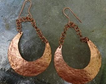 Copper Half Moon Dangle Earrings