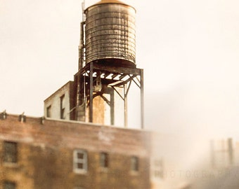 Water Tower Photograph | New York City home decor | wall art print | urban | gold, yellow, creme | Manhattan | art for walls | city skyline