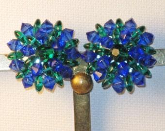 Vintage Blue Green Glass Crystal Starburst Clip Earrings (E-1-1)