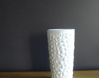 Floral Milkglass - Tall Milkglass Vase - Large Milk Glass Vase with Flower Pattern All Over
