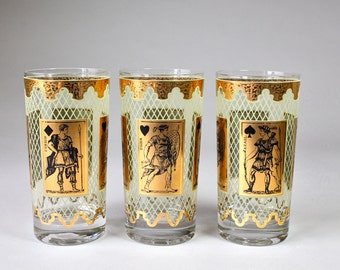 Mid Century Warrior Glasses Gold Playing Cards Gold Trim Highball Glasses Vintage Neoclassical Barware Set of 3 Glasses
