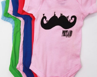 Mustache | Baby Onesie | Infant Bodysuit | Bike | Baby Shower | jumpsuit | Portland oregon | Hometown pride tees | Art by MATLEY.