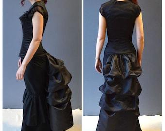 Victorian Bustle taffeta-black bustle-simple bustle-tie on bustle-bustle-tie on skirt-gothic-steam- One size fits waist XS to Plus size