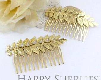 2pcs Nickel Free - High Quality Golden Leaves Pad 14 Teeth Barrette Hair Combs (ZX147-G)