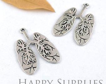 4pcs High Quality Antique Silver Lung Charm / Pendant (12842)