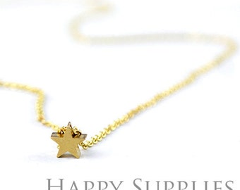 10pcs Golden Star Charm / Pendant With 1 hole (Chain Optional)  (ZG177-G)