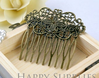 5Pcs Antiqued Vintage Bronze 9 Teeth Barrette Hair Combs (ZX152)