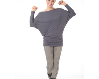 Long sleeve tunic, Plus size casual top, Gray top, Off the shoulder top, Maternity tops, Plus size clotes, Oversized tunic top for women