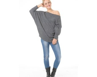 Knit Off The Shoulder Sweater- Oversized long sleeve tunic top for women