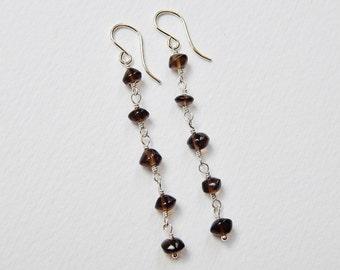 Smoky Quartz Long Earrings - Sterling Silver Beaded Earrings Dangle Earrings Beadwork Earrings Rosary Earrings