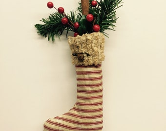 Primitive Christmas Stocking | Primitive Ornie | Holiday Decor | Holiday Gift Tag