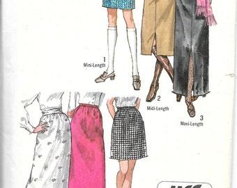 SIMPLICITY 9099 Size 12 Waist 25 1/2 Hip 36, Vintage 1970's Jiffy Mini Midi Maxi Skirts Retro Pattern