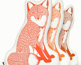 Fox plush, fox pillow, animal pillows, animal pillow, animal cushions, animal print pillows, fox plushie, animal throw pillow,