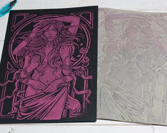 Dame Terres Electrique - Flouresent Pink Block Print