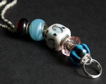 Sky Blue Badge Lanyard. Pink Id Lanyard. Beaded Lanyard. Badge Necklace. Handmade Badge Holder. Lampwork Glass Lanyard. Nurse Lanyard.