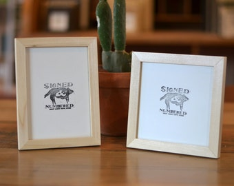 Signed and Numbered BASIC Picture Frame - Built from Natural Poplar Hardwood - Choose Size: 4x4 - 5x5 - 6x6 - 5x7 - 7x7 - 8x8 - 8x10