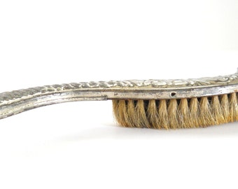 Vintage Clothing Brush • Silver Color Tin and Wood • Antique Coat Brush
