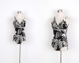 Vintage 1970s Swimsuit / 70s Printed One Piece Bathing Suit / Black and White (small S)