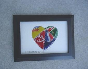 HEART - Wedding Gift - 10 year Anniversary Gift - Tin Anniversary Gift - Original  5 x 7  - Mixed Media