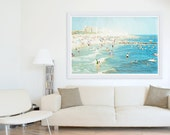 """Large Scale Living Room Decor // Oversized Beach Photography // Navy Blue, Blue, Light Blue Wall Art // Brooklyn Photography """"Peeps Dips"""""""