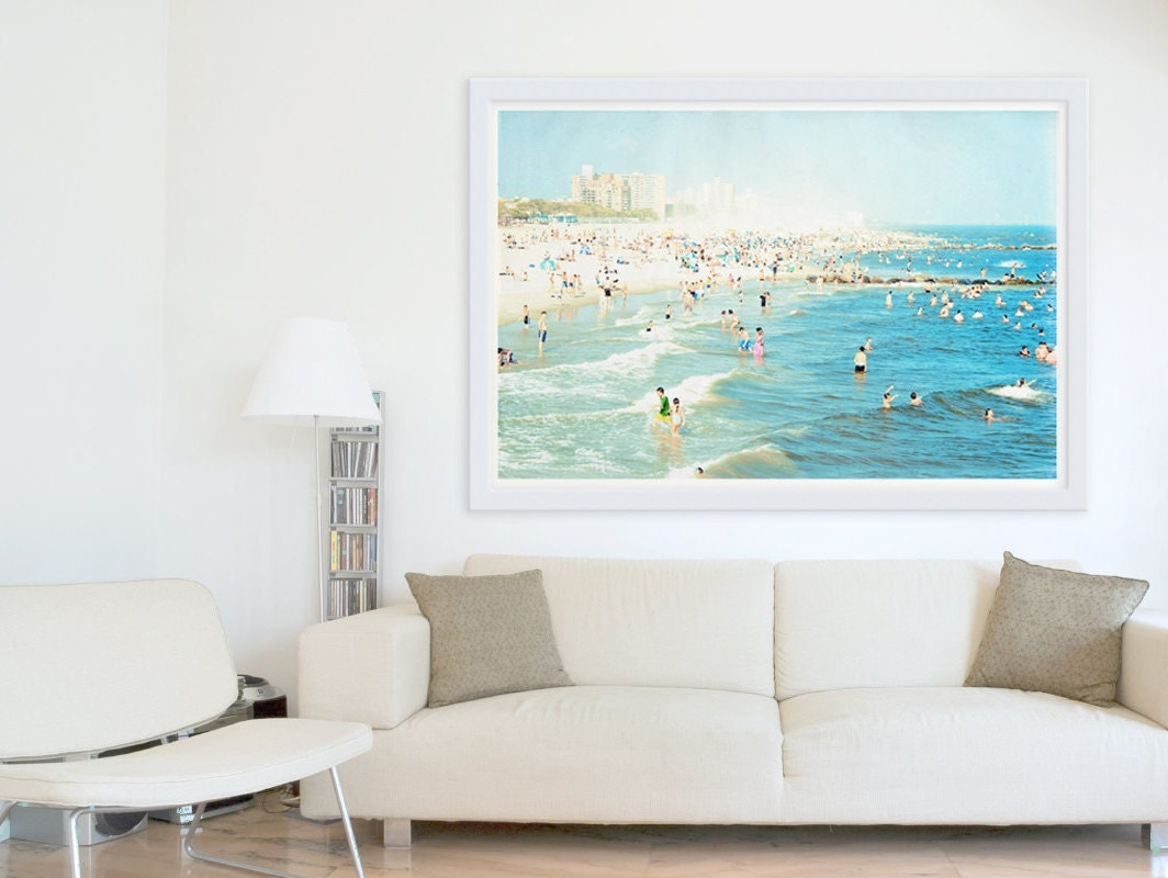 Oversized art large wall art coney island beach by minagraphy for Art work for living room