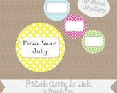 """Printable and Editable """"Ovals"""" Canning Jar Labels, 2 inch, four colors"""