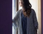 Metallic Lace Kimono Robe with fringe - Bohemian Fringe Shawl / Silver metallic robe