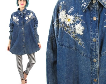 80s Acid Wash Denim Shirt Sequin Collar Floral Applique Vintage Plus Size Blouse Bedazzled Embroidered Womens Button Down Shirt (L/XL)