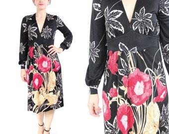 25% OFF SALE 70s Floral Long Sleeve Dress Jersey Art Nouveau Dress Empire Waist Dress Leaves Black Floral Print Midi Dress V Neck (Xs/S)