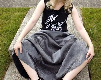 90s Silver Maxi Skirt High Waisted Formal Maxi Skirt Evening Long Prom Skirt Metallic Grey Skirt Floor Length Shiny Gunmetal Skirt (S/M)