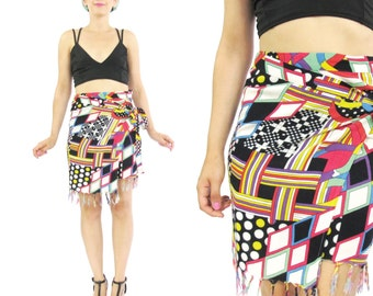 25% OFF 80s 90s Abstract Mini Skirt Vintage Sarong Skirt Colorful Print Wrap Skirt Summer Beach Skirt Plus Size Tassel Fringe Skirt (L/XL)